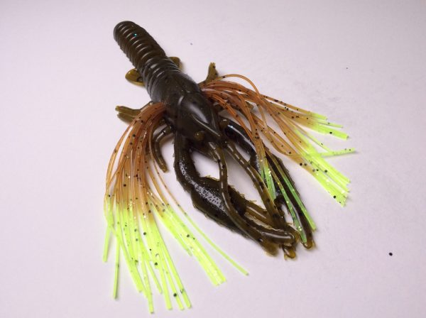 Tightlines UV Whiskers T-Craw - Green Pumpkin with Pumpkin Chartreuse Tip